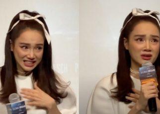 Nữ diễn viên xinh đẹp Nhã Phương khóc vì đến muộn
